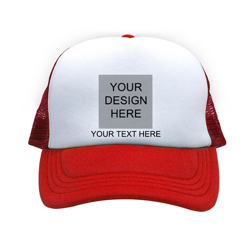 Custom Trucker Hat Square Image & Text, Red