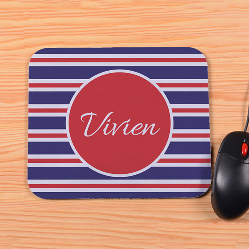 Personalized Red Navy Stripe Mouse Pad