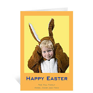Personalized Easter Orange Photo Greeting Cards, 5X7 Portrait Folded Causal