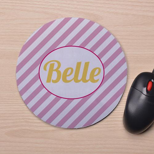 Custom Printed Pink Stripes Design Mouse Pad