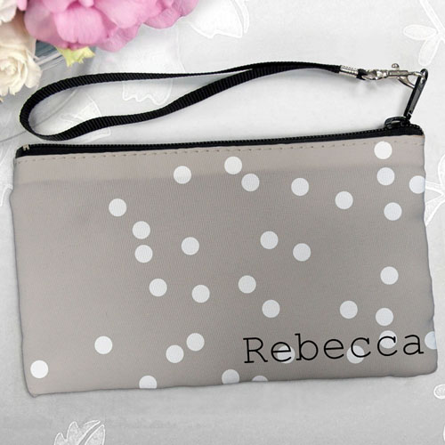 Personalized White Natural Polka Dots Clutch Bag (5.5X10 Inch)