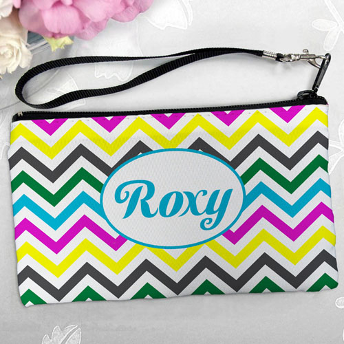 Personalized Yellow Colorful Chevron Clutch Bag (5.5X10 Inch)