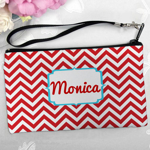 Personalized Red Chevron Clutch Bag (5.5X10 Inch)