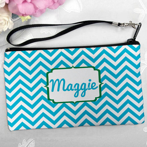 Personalized Turquoise Chevron Clutch Bag (5.5X10 Inch)