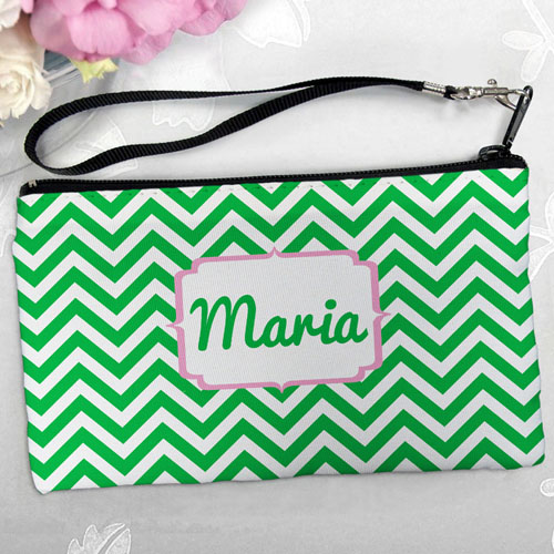 Personalized Green Chevron Clutch Bag (5.5X10 Inch)