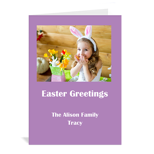 Personalized Easter Purple Photo Invitation Cards, 5X7 Portrait Folded