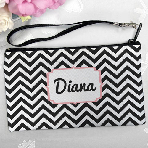 Personalized Black Chevron Clutch Bag (5.5X10 Inch)