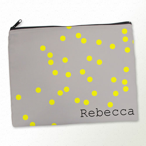 Personalized Yellow Natural Polka Dots Large Cosmetic Bag (11