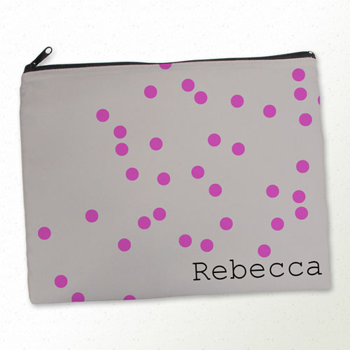 Personalized Fuchsia Natural Polka Dots Large Cosmetic Bag (11