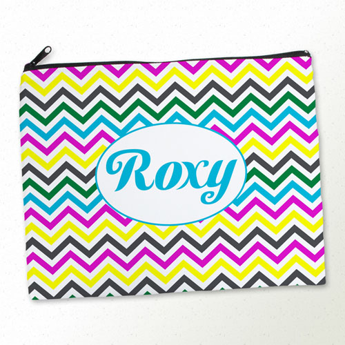 Personalized Yellow Colorful Chevron Large Cosmetic Bag (11