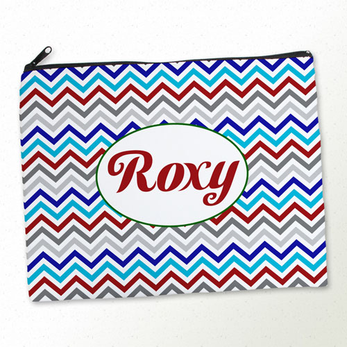 Personalized Grey Blue Red Chevron Large Cosmetic Bag (11