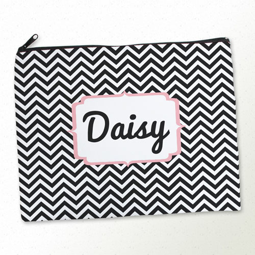 Personalized Black Chevron Large Cosmetic Bag (11