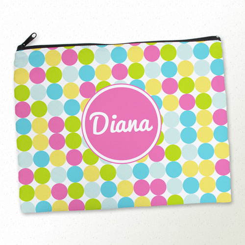 Personalized Pink Colorful Large Dots Large Cosmetic Bag (11
