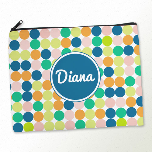 Personalized Navy Colorful Large Dots Large Cosmetic Bag (11