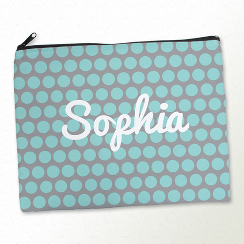 Personalized Aqua Grey Large Dots Large Cosmetic Bag (11