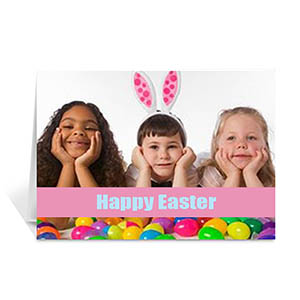 Easter Pink Photo Greeting Cards, 5x7 Folded Causal