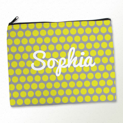 Personalized Yellow And Grey Large Dots Large Cosmetic Bag (11