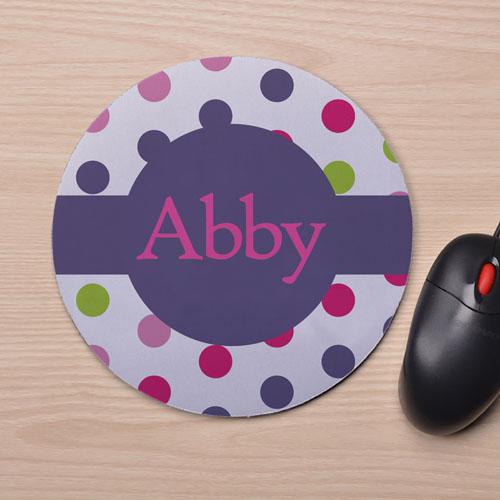 Custom Printed Colorful Polka Dots Design Mouse Pad