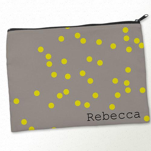 Personalized Yellow Natural Polka Dots Big Make Up Bag (9.5 X 13 Inch)