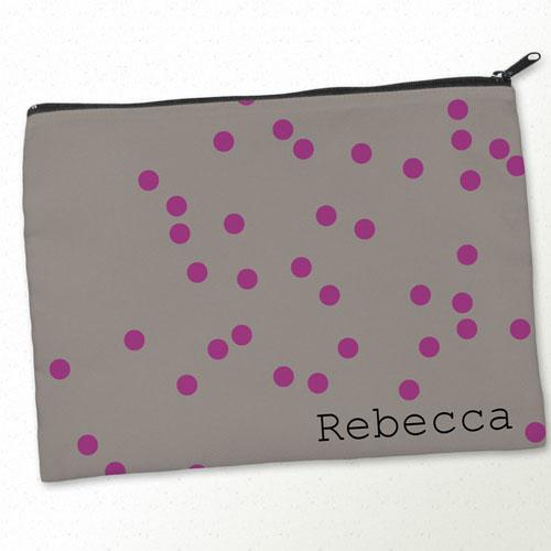 Personalized Fuchsia Natural Polka Dots Big Make Up Bag (9.5 X 13 Inch)