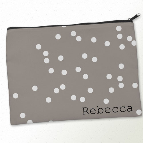 Personalized White Natural Polka Dots Big Make Up Bag (9.5 X 13 Inch)