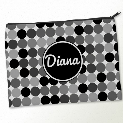 Personalized Black White Large Dots Big Make Up Bag (9.5 X 13 Inch)