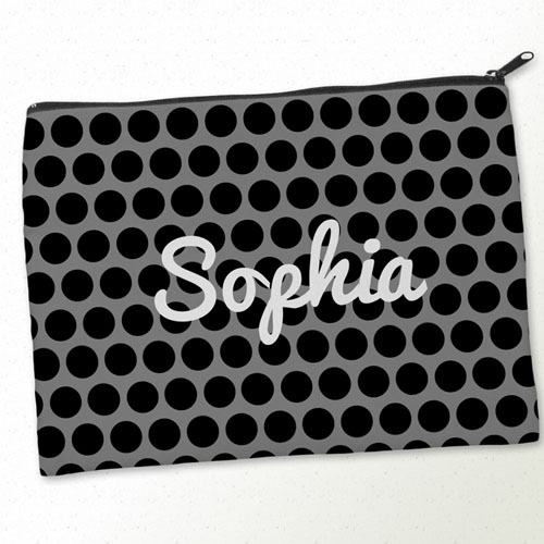 Personalized Black Grey Large Dots Big Make Up Bag (9.5 X 13 Inch)