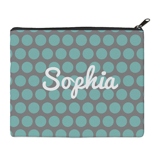 Print Your Own Aqua Grey Large Dots Bag (8 X 10 Inch)