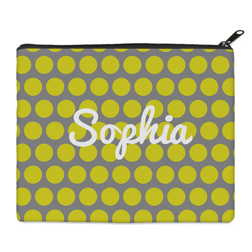 Print Your Own Yellow Grey Large Dots Bag (8 X 10 Inch)