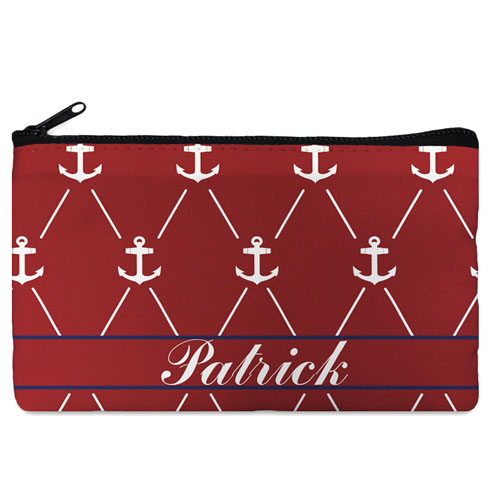 Custom Design Your Own Red White Anchor Makeup Bag (5 X 8 Inch)