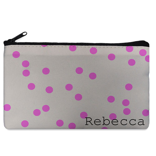 Custom Design Your Own Fuchsia Natural Polka Dots Makeup Bag (5 X 8 Inch)