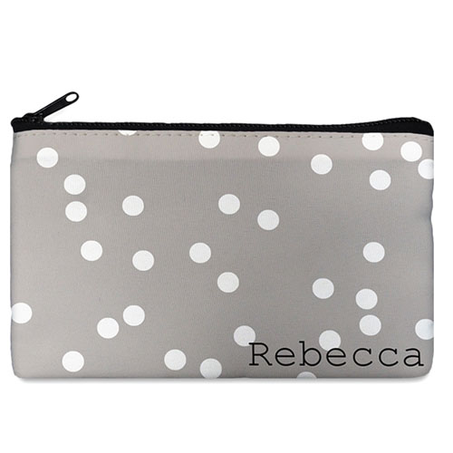 Custom Design Your Own White Natural Polka Dots Makeup Bag (5 X 8 Inch)