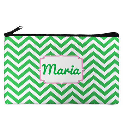 Custom Design Your Own Green Chevron Makeup Bag (5 X 8 Inch)