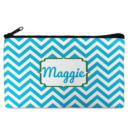 Custom Design Your Own Turquoise Chevron Makeup Bag (5 X 8 Inch)