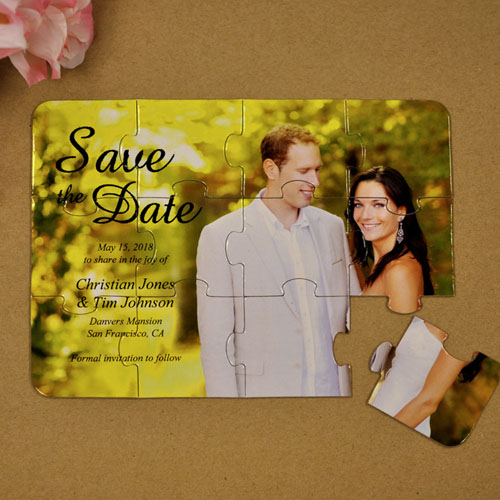 Personalized Formal Date Save The Date Puzzle Invite