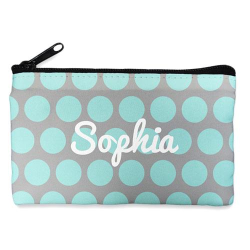 Custom Design Your Own Aqua Grey Large Dots Makeup Bag (5 X 8 Inch)