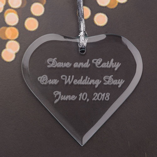 Personalized Engraved Our Wedding Day Heart Shaped Ornament