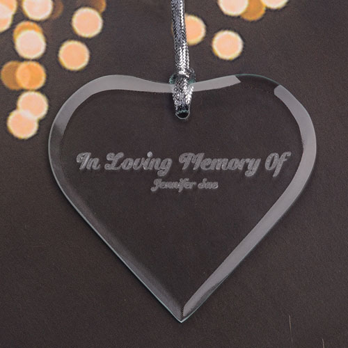 Personalized Engraved In Loving Memory Heart Shaped Ornament