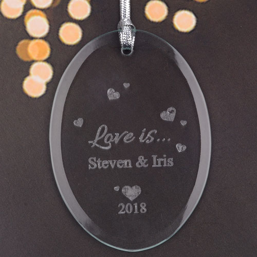 Personalized Laser Etched Sweet Ever After Glass Ornament