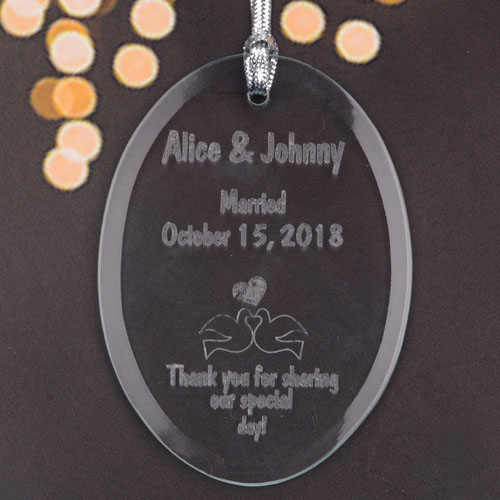 Personalized Laser Etched Love Birds Glass Ornament