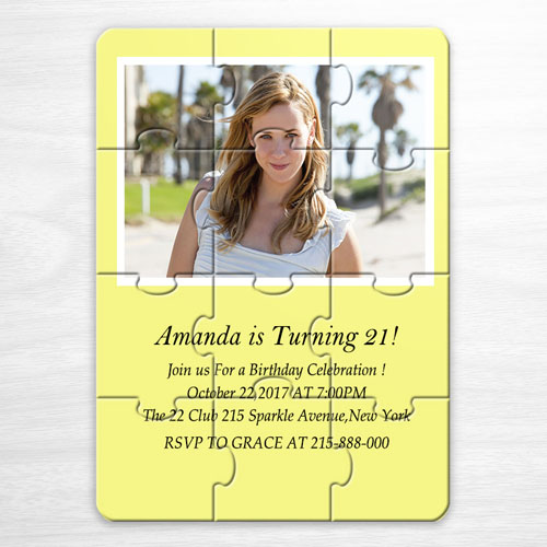 Personalized Yellow Photo Puzzle Puzzle Invite
