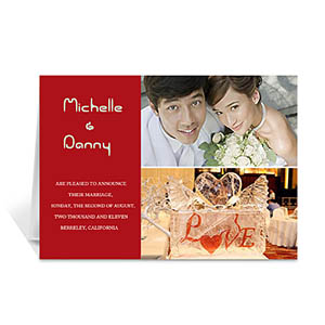 Personalized Elegant Collage Red Wedding Announcement Greeting Cards
