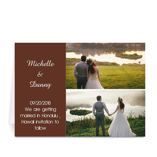 Personalized Elegant Collage Chocolate Wedding Announcement Greeting Cards