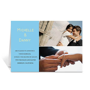 Personalized Elegant Collage Blue Wedding Announcement Greeting Cards