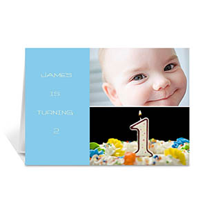 Personalized Elegant Collage Blue Birthday Greetings Greeting Cards