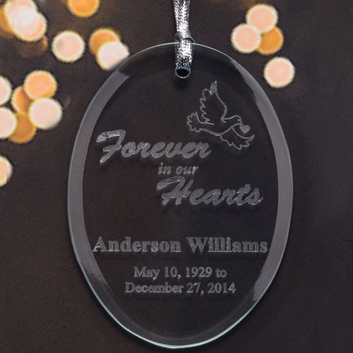 Personalized Laser Etched Forever In Our Hearts Glass Ornament