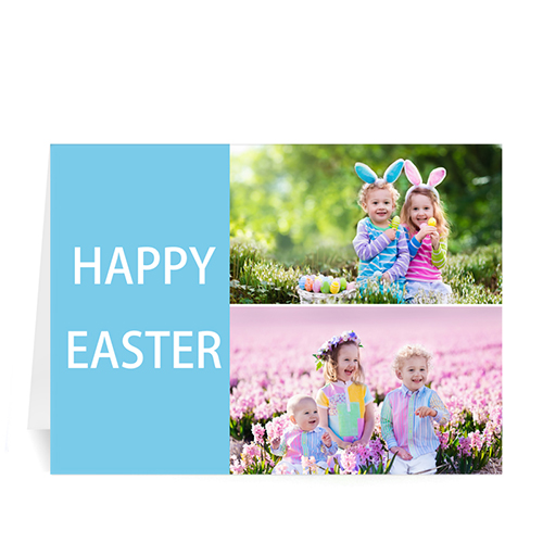 Personalized Elegant Collage Blue Easter Greetings Greeting Cards