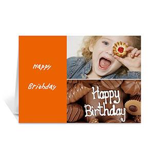 Personalized Elegant Collage Orange Birthday Greetings Greeting Cards