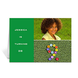 Personalized Elegant Collage Green Birthday Greetings Greeting Cards