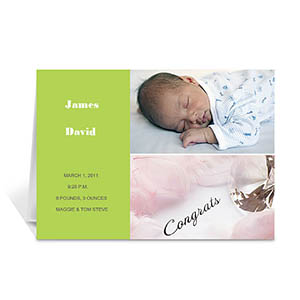 Personalized Elegant Collage Green Birth Announcement Greeting Cards